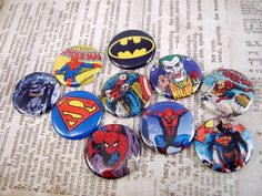 Superheros Comicbook Inspired Buttons Magnets by Thefaerywatcher, $6.00