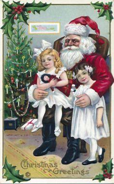 Great 1915 Santa Claus Girls Doll Embossed Stecher Christmas Postcard 927 | eBay