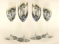 Hand Painted Champagne Glasses  Midnight Navy by HandPaintedPetals
