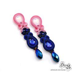 Long Dangle Earrings, Navy Blue Pink Earrings, Clip on earrings, Soutache Earrings, Beading Earrings, Orecchini Soutache, Ohrringe soutache by SBjewelrySoutache on Etsy