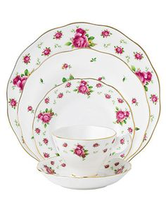 Royal Albert Dinnerware, Old Country Roses White Vintage 5 Piece Place Setting - Fine China - Dining & Entertaining - Macy's
