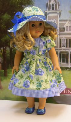 Sunday Tea Dress for American Girl doll with by cupcakecutiepie . I love the use of big hats to match outfits Sewing Doll Clothes, Girl Doll Clothes, Doll Clothes Patterns, Girl Dolls, Ag Dolls, Doll Patterns, American Girl Dress, American Doll Clothes, American Dolls