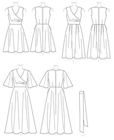 Sewing Pattern for Misses' Pleated Wrap Dresses with Sash, Butterick Pattern Spring Dresses, Surplice Wrap Dress, Womens Dress Wrap Over Dress, Faux Wrap Dress, Dress Sewing Patterns, Sewing Ideas, Wrap Pattern, Couture, Sewing Clothes, Satin Fabric, Dressmaking