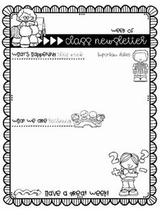 Back To School Weekly Newsletter Templates For Teachers  Weekly