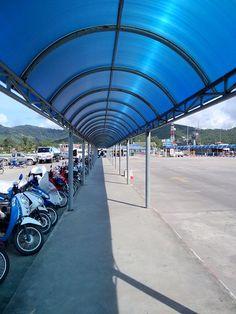 Nathon pier today is super quiet. November is a lot of rain on Koh Samui, Thailand.