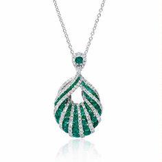 .66ct Diamond and Emerald 18k White Gold Pendant