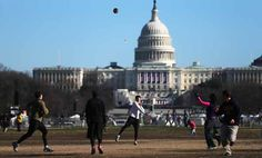 WASHINGTON, DC - JANUARY 19: People play football in front of the U.S. Capitol building as Washington prepares for President Barack Obama's second inauguration on January 19, 2013 in Washington, DC. The U.S. capital is preparing for the second inauguration of U.S. President Barack Obama, which will take place on January 21. (Photo by Mario Tama/Getty Images) Obama 2008, Presidential Inauguration, January 21, Capitol Building, Barack Obama, Washington Dc, Presidents, Mario, Two By Two