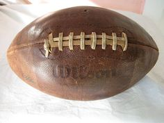 Vintage NFL Wilson Football - Pete Rozelle Model / All Leather / bearing all the past Turkey-Day battle scars . a treasure. Saturday Down South, Wilson Football, Sports Fanatics, Retro Men, School Football, Vintage Football, Exercise For Kids, Wash Bags