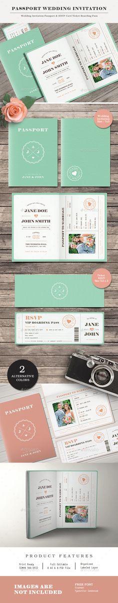 Passport Wedding Invitation — Photoshop PSD #marriage #invitation • Download ➝ https://graphicriver.net/item/passport-wedding-invitation/20200633?ref=pxcr