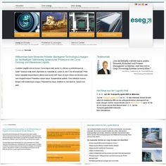 Internetauftritt eseg International AG / Leistungen: Konzeption, Webdesign, Technische Umsetzung / Techniken: PHP, Javascript, mootools, XHTML, CSS