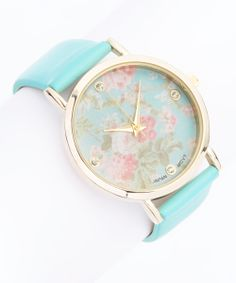 Mint Crystal Floral Watch
