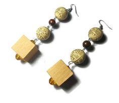 Wooden Earrings Boho Geometric Hippie Wooden Jewelry Modern jewelry Natural wood Contemporary jewelry Handmade Bohemian Jewelry By Neda Wooden Earrings, Wooden Jewelry, Boho Earrings, Handmade Jewelry, Stud Earrings, Unique Jewelry, Handmade Gifts, Artistic Wire, Bohemian Jewelry