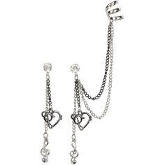 Blackheart CZ Stud Music Symbols Drop Earring And Cuff Set Emo Jewelry, Fantasy Jewelry, Gothic Jewelry, Cute Jewelry, Jewelery, Jewelry Bracelets, Gold Bar Earrings, Chain Earrings, Clip On Earrings