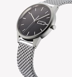 Designed with simplicity and versatility in mind, the 40mm case, day-date function, wide open dials and low-profile proportions of the C40 make for a thoroughly modern dress watch. This is the C40 in polished steel with polished milanese mesh bracelet. London designed, Swiss made. To see this, and the rest of the C - Line collection head over to www.uniformwares.com