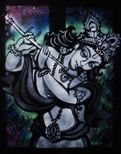 Hare Krishna, Krishna, Lord Krishna, Sprühfarbe, Kunst, Wandkunst, Kuru