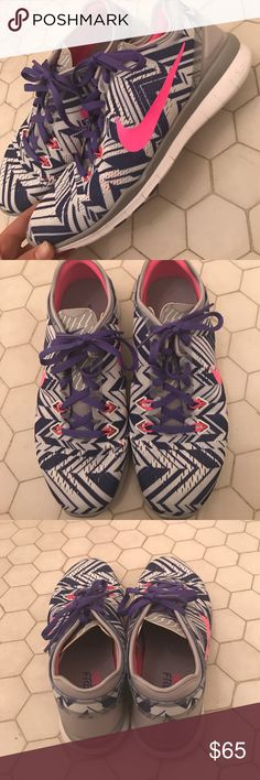 Purple and Pink Chevron Nike Free Run Tennis Shoes Purple, white, and hot pink patterned Nike Free Run Tennis Shoes. Only worn once, in New condition. Fun and vibrant print that will spice up your gym attire! Nike Shoes Athletic Shoes