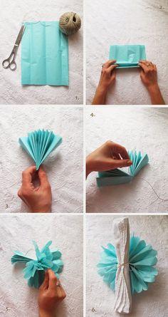 Trendy Wedding, blog idées et inspirations mariage ♥ French Wedding Blog: DO IT YOURSELF : Le pompon en papier de soie pour la décoration de table