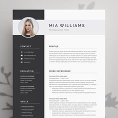 Modern Resume Template 4 page | CV Template + Cover Letter for MS Word | Instant Digital Download |
