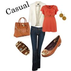 White jacket, Orange blouse, Brown shoes and Golden accesories - Semi formal Outfit