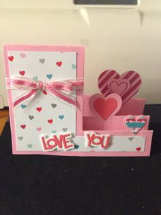 Craft Cards, Diy Cards, Handmade Cards, Valentine Love Cards, Valentines For Kids, Tarjetas Stampin Up, Step Cards, Love And Marriage, Scrapbook Cards