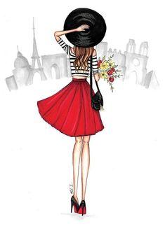 Girl in Paris City Scene Illustration -Fashion Illustration Print-Girly wall art-Fashion wall decor-Fashion Sketch-Girly dorm decor-ParisArt Paris Drawing, Paris Girl, Paris Mode, City Scene, Fashion Wall Art, Dorm Decorations, Girl Cartoon, Fashion Sketches, Art Projects