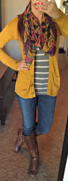 Fall Outfit With Mustard Sweater