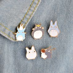 5pcs/set Childhood Cartoon My Neighbor Lovely Totoro Chinchilla Brooch Button Pins Denim Jacket Pin Badge Animal Jewelry Gift-in Brooches from Jewelry & Accessories on Aliexpress.com | Alibaba Group