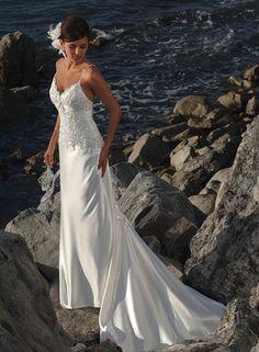 Charming Casual sheath/column Elastic Woven Satin Spaghetti Strap Sleeveless Beach Wedding Dress