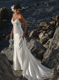 Charming Casual sheath/column Elastic Woven Satin Spaghetti Strap Sleeveless Beach Wedding Dress