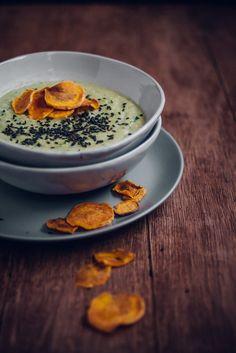 Edamame Miso Soup with Crispy Sweet Potato Chips and Toasted Black Sesame Seeds   JET & INDIGO
