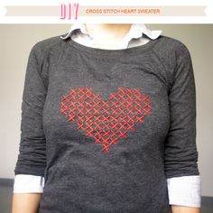 Don't just wear your heart on your sleeve- cross stitch it to your sweater! DIY Cross Stitch Heart Sweater by Über Chic For Cheap.