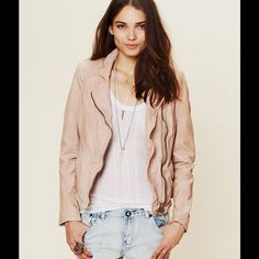 Muubaa Pink Leather Jacket w/ touch of taupe Size 4, never worn, buttery soft. No flaws. Price firm. It's a powder pink with a touch of beige, to tone it down and make it more sophisticated. Wear it evenings with fancy dress or casual, due to the tone of pink. Muubaa Jackets & Coats