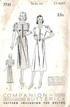 1930s Misses Dress Vitntage Sewing Pattern by MissBettysAttic, $27.00