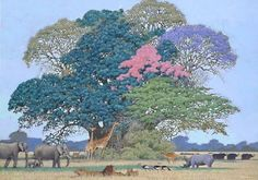 Painted illustration by Hiroo Isono. So delicate and harmonious.