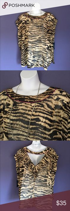 """🆕 Eloquii Animal Print Sleeveless Blouse NWT - Take a walk on the wild side.  This sheer blouse is pretty and fun.  The back has an opening for added drama. Pair with black pants and a cami for a great outfit.  Material:  100% Polyester. Measurements (Flat): Length - 30""""/Bust - 28""""/Waist - 26.5"""" Eloquii Tops Blouses"""