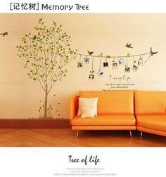 Chers animaux de dessin animé arbre d'oiseau vie photo sticker mural pvc, décalque de mur, papier peint,