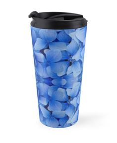 """""""Petals in Blue"""" Travel Mugs by PolkaDotStudio 