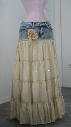 Beautiful skirt. upcycled jeans as yoke.  I think I will curve the skirt part up at the hips a bit for mine.  And colors that are closer in tone.