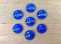 Blue Hair Bow Center Blue cabochon blue Flatback Love