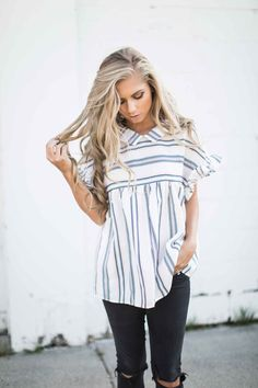 jessakae, casual wear, blonde, blonde hair, hair, style, fashion, street style, womens fashion, spring, stripes, embroirdered