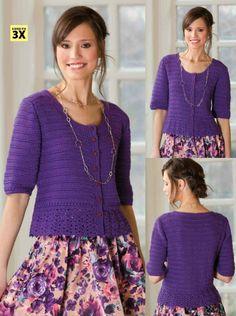 Crochetemoda: Casaqueto Crochet Purple