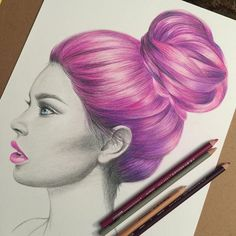 Pink+hair+colored+pencil.jpg (640×640)