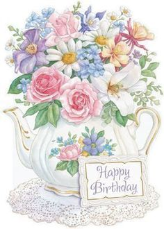Carol Wilson Stationery 5x7 Flowers in Teapot Birthday Card with Envelope - Inside Message: Wishing Someone Very Special A Beautiful Day! Happy Birthday!