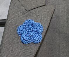 New to LittleMonkeyShop on Etsy: Blue Lapel Flower Buttonhole Flower Mens Boutonniere - Crochet Wedding Boutonniere - Rose - Dark Delft Blue (10.00 USD)