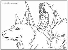 Monoke Art Studio Ghibli, Studio Ghibli Tattoo, Studio Ghibli Movies, Hayao Miyazaki, Film Animation Japonais, Line Art Projects, Studio Ghibli Characters, Mermaid Drawings, Cute Coloring Pages