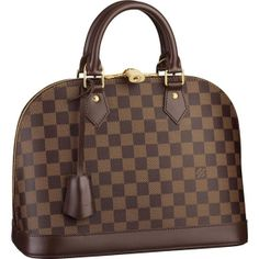 """Louis Vuitton Alma Damier Ebene Canvas N53151 Handbags:The iconic profile of the Alma looks bold and refreshing in elegant Damier Canvas. One of our most feminine bags, its beautiful shape is complemented by a double zip opening and generous capacity.  *Size: 12.8"""" x 9.4"""" x 6 *Leather key tag *Double zip with padlock closure *Optional shoulder strap *Wide opening for easy access *Interior patch and phone pockets *K61 *Protective bottom studs"""