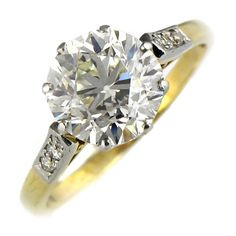 2.56 Carat Diamond Solitaire Gold Engagement Ring | From a unique collection of vintage engagement rings at https://www.1stdibs.com/jewelry/rings/engagement-rings/