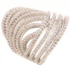 anel semi-joia ouro branco prata com zircônias cravejadas