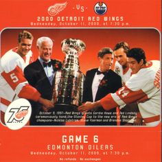 On the 9th of October Red Wings greats Gordie Howe and Ted Lindsay ceremoniously hand the Stanely Cup to the new era of Red Wings champions - Nicklas Lidstrom, Steve Yzerman and Brendan Shanahan.