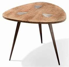 Jean Prouvé; Wood and Bent Steel Prototype Table, c1948.